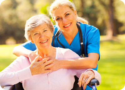 smiling caregiver and nurse