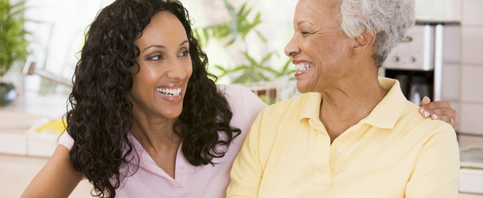 smiling woman and caregiver